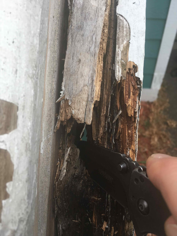 Extensive rot hidden beneath failing paint.