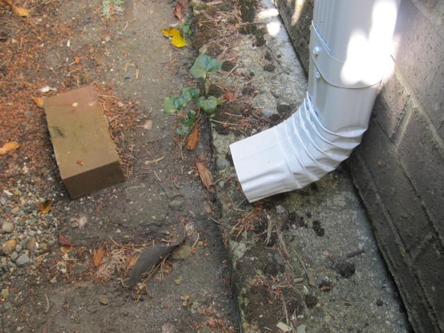 Downspout without a splash block