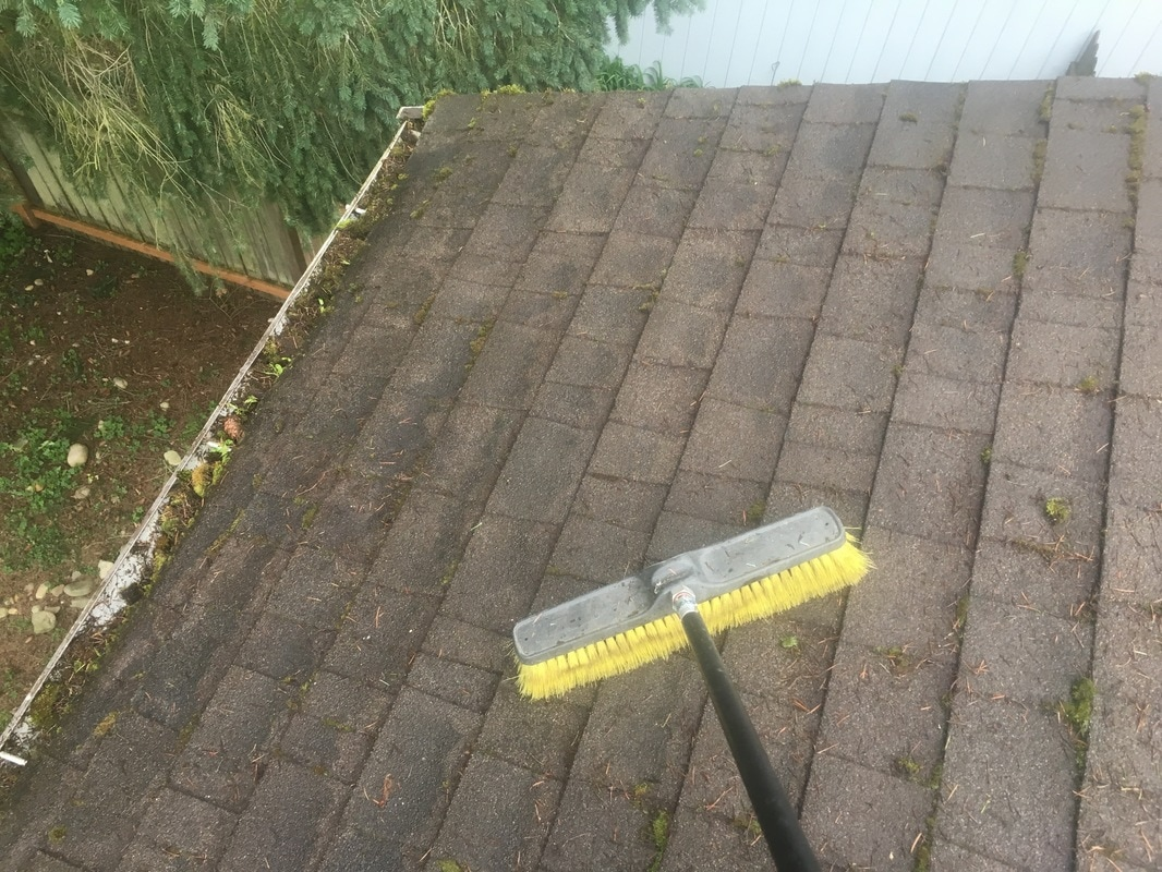 Clean roof after clearing of moss with a push broom.