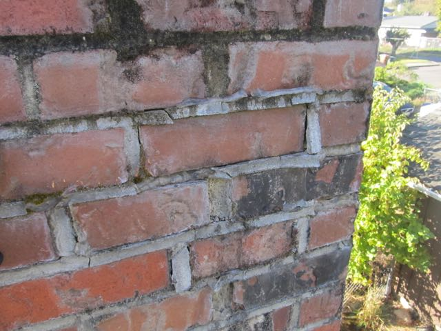 Chimney bricks with failing mortar