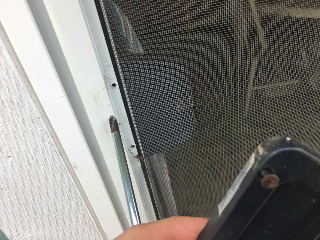 Screen door handle removed.